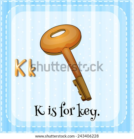 Illustration of an alphabet K is for key - stock vector