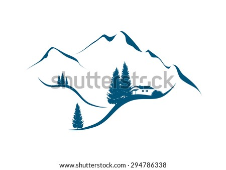 illustration of an alpine mountain landscape with chalet and firs - stock vector