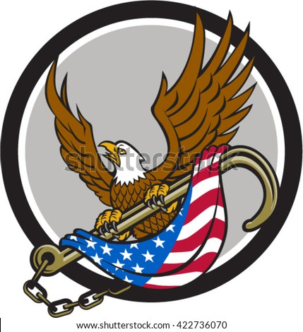 Illustration of an american bald eagle looking to the side clutching with its talon a towing j hook with chains draped with usa american flag viewed from front set inside circle done in retro style.