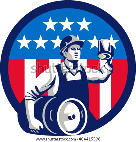 Illustration of an American builder construction worker wearing hardhat holding a beer mug toasting while carrying beer keg set inside circle  USA stars and stripes isolated background retro style