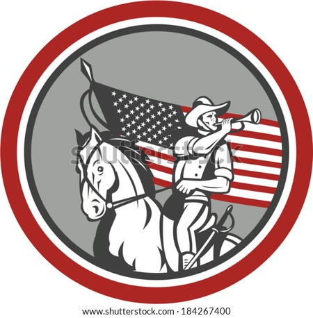 Illustration of an American cavalry soldier riding horse set inside circle with USA stars and stripes flag in background done in retro style.