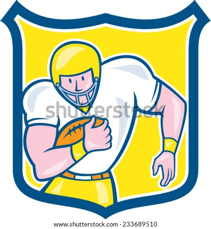 Illustration of an american football gridiron player fullback holding ball viewed from front set inside shield on isolated background done in cartoon style.