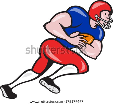 Illustration of an american football gridiron running back player running rushing with ball facing side on isolated background done in cartoon style.