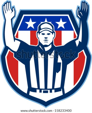 Illustration of an american football official referee with hand pointing up for a touchdown facing front set inside crest shield with stars and stripes flag done in retro style. - stock vector