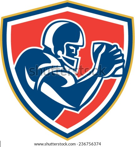 Illustration of an american football player with helmet holding ball viewed from the side set inside shield crest on isolated background done in retro style.