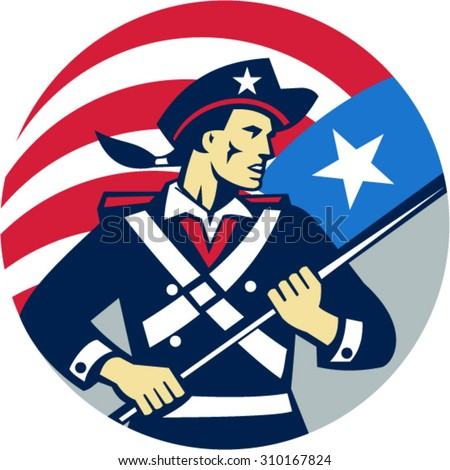 Illustration of an American patriot brandishing holding American USA flag looking to the side, set inside shield crest done in retro style.