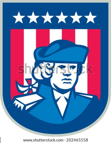 Illustration of an American Patriot head bust facing front with stars and stripes in the background set inside shield done in retro style.