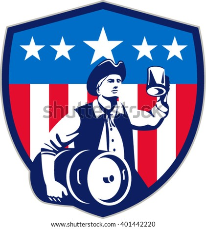 Illustration of an American Patriot holding a beer mug toasting while carrying beer keg set inside crest shield with USA stars and stripes on isolated white background done in retro style.  - stock vector