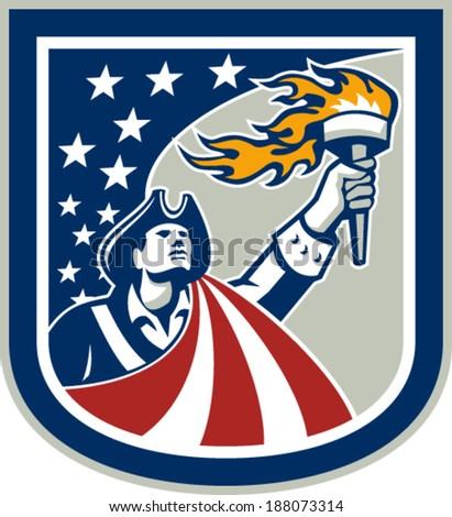 Illustration of an American Patriot holding up a flaming torch looking up set inside shield crest shape with USA stars and stripes flag on isolated white background.