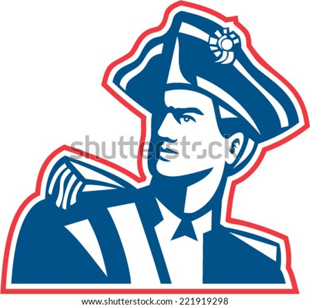 Illustration of an American Patriot revolutionary soldier bust set on isolated white background done in retro style.  - stock vector