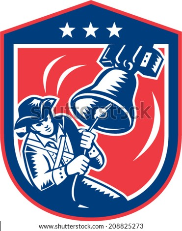 Illustration of an American Patriot ringing liberty bell set inside crest shield with stars on isolated white background done in retro woodcut style.