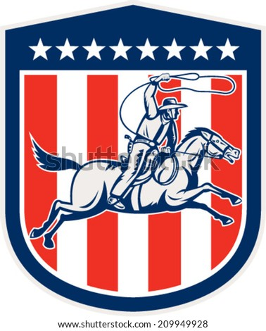 Illustration of an american rodeo cowboy riding horse with lasso rope set inside shield crest with stars and stripes done in retro style.