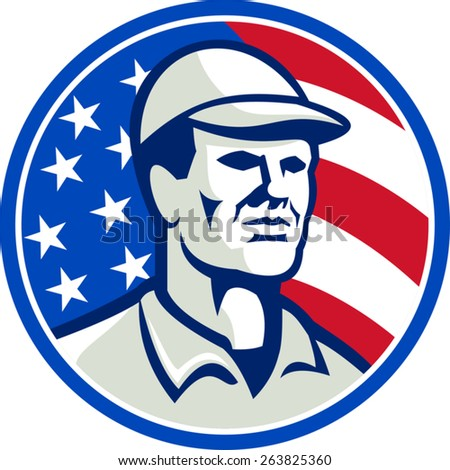 Illustration of an american worker wearing hat cap set inside circle with stars and stripes flag in background.