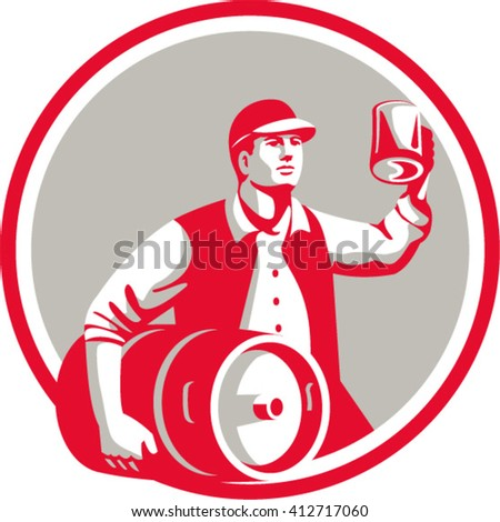 Illustration of an american worker wearing hat carrying keg on one hand and toasting beer mug on the other set inside circle on isolated background done in retro style.  - stock vector