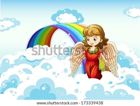 Illustration of an angel in the sky near the rainbow - stock vector