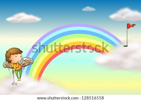 Illustration of an angel playing golf near the rainbow - stock vector