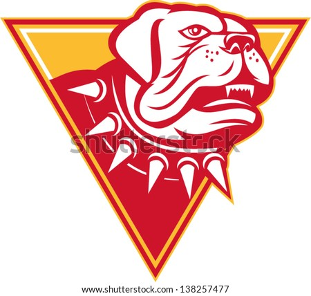 Illustration of an angry barking English mastiff dog mongrel set inside triangle on white background done in retro style.