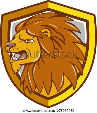 Illustration of an angry lion big cat head roaring viewed from the side set inside shield crest on isolated background done in cartoon style.  - stock vector