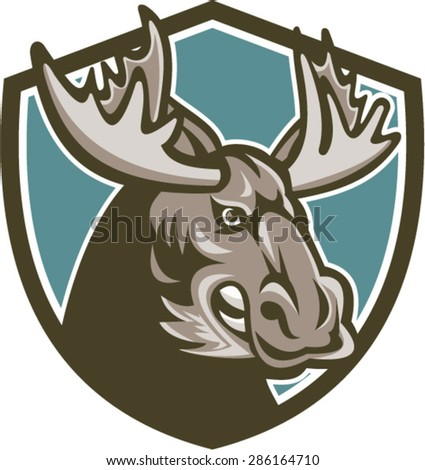 Illustration of an angry moose head set inside shield done in retro style on isolated background. - stock vector