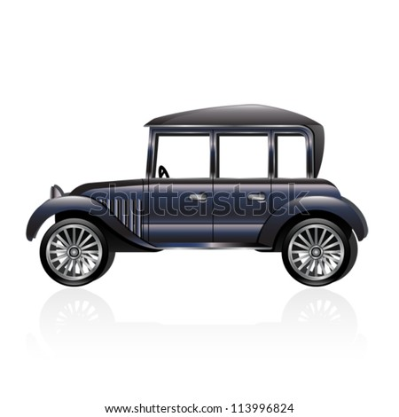 Illustration of an antique car. Eps 10 Vector.