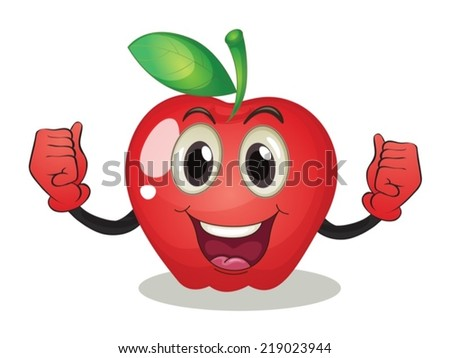 Illustration of an apple with a face - stock vector