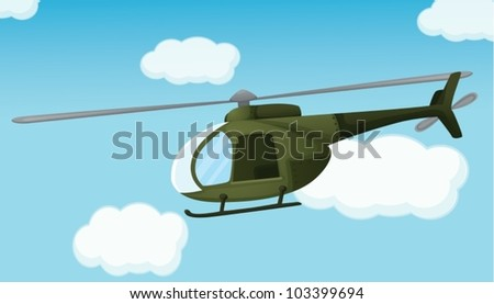 Illustration of an army helicopter - stock vector