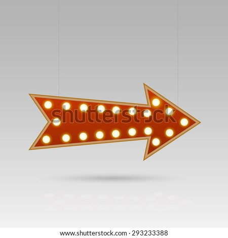 Illustration of an arrow sign with lightbulbs against a gray background. - stock vector