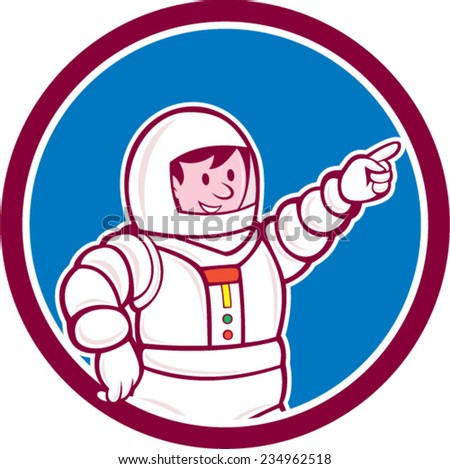 Illustration of an astronaut pointing facing front set inside circle on isolated background done in cartoon style