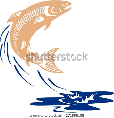 Illustration of an Atlantic salmon fish jumping in water set on isolated white background viewed from the side done in retro style.  - stock vector
