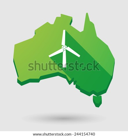 Illustration of an  Australia map with a wind generator - stock vector