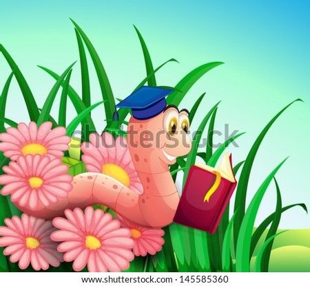 Illustration of an earthworm reading a book at the garden - stock vector