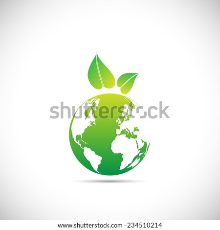 Illustration of an eco-friendly green earth design isolated on a white background. - stock vector