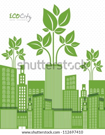 Illustration of an ecological city, vector illustration - stock vector