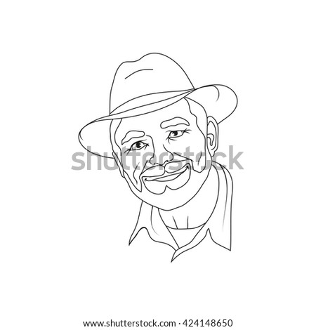 illustration of an elderly man in a hat