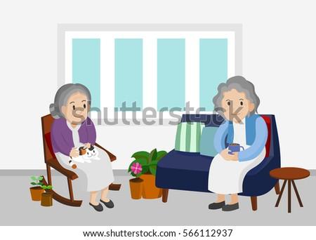 Illustration Of An Elderly Women Sitting In Living Room