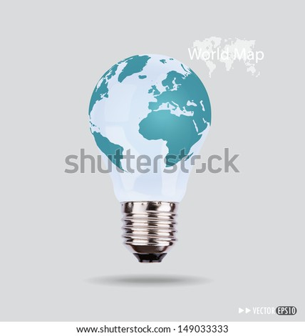 Illustration of an electric light bulb with a world map. Vector EPS10