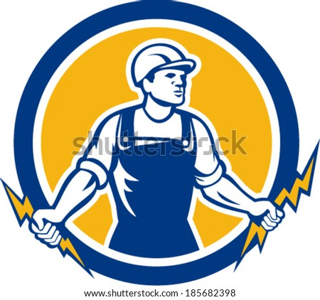 Illustration of an electrician construction worker holding two lightning bolts set inside circle done in retro style on isolated white background.