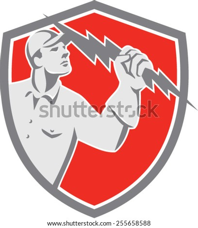 Illustration of an electrician construction worker lineman looking up holding a lightning bolt throwing viewed from the side set inside shield crest done in retro style on isolated background. - stock vector