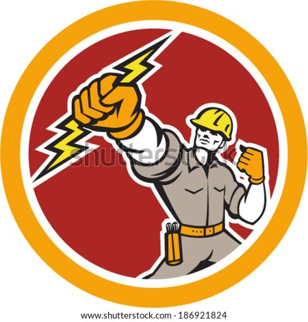 Illustration of an electrician construction worker power lineman wielding holding a lightning bolt set inside circle done in retro style on isolated white background. - stock vector