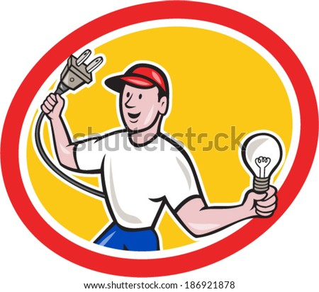 Illustration of an electrician worker holding an electric plug on one hand and a light bulb in the other facing front set inside circle on isolated background done in cartoon style. - stock vector