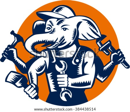 Illustration of an elephant builder plumber mechanic repairman with 4 hands holding hammer wrench spanner and brush set inside circle done in retro woodcut style. - stock vector