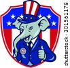 Illustration of an elephant mascot wearing hat and suit showing thumbs up set inside shield with USA American stars and stripes in background done in cartoon style.  - stock photo