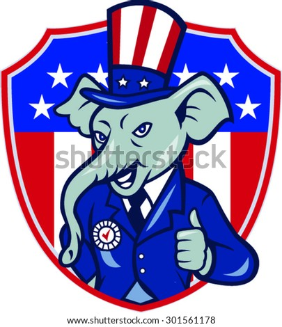 Illustration of an elephant mascot wearing hat and suit showing thumbs up set inside shield with USA American stars and stripes in background done in cartoon style.  - stock vector