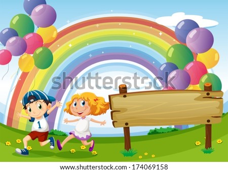 Illustration of an empty board and two kids playing below the floating balloons and rainbow - stock vector