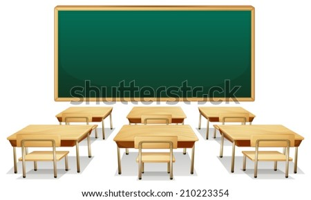 Illustration of an empty classroom - stock vector