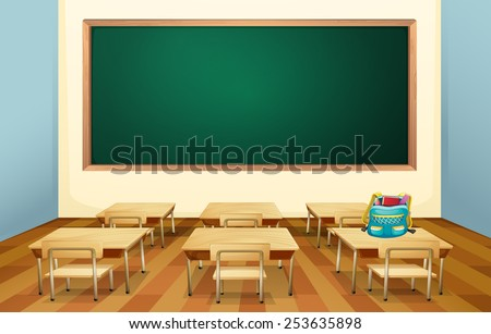 Illustration of an empty classroom - stock vector