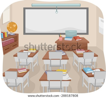 Illustration of an Empty Classroom with Books Left Behind - stock vector