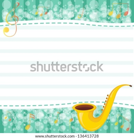 Illustration of an empty paper with a musical instrument - stock vector