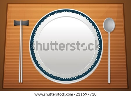 Illustration of an empty plate on a placemat