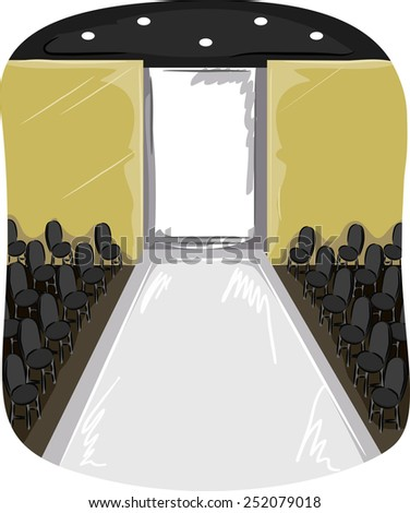 Illustration of an Empty Runway With Chairs on the Side - stock vector